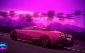 Picture Auto, Music, Lamborghini, Neon, Machine, Palm trees, Art, Lamborghini Murcielago, Supercar, Murcielago, Synthpop, Darkwave, Synth, ...