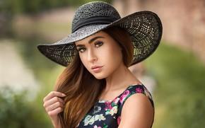 Picture look, background, portrait, hat, makeup, dress, hairstyle, brown hair, beauty, bokeh, Lara, Lods Franck