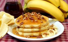 Picture honey, nuts, banana, pancake