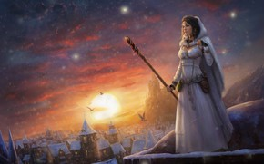 Wallpaper winter, the sky, clouds, snow, castle, Girl, sorceress, peer