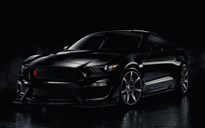 Picture Mustang, Ford, Black, Smoke, Backgraund