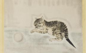 Picture 1929, sleeping kitten, Tsuguharu, Fujita, etching and aquatint in color, Sarton ball
