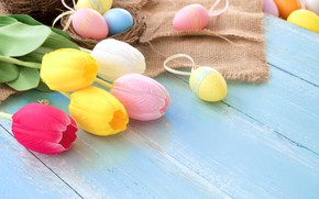 Picture flowers, basket, eggs, spring, colorful, Easter, tulips, wood, pink, flowers, tulips, spring, Easter, eggs, decoration, …
