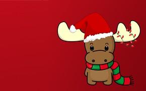 Picture winter, holiday, new year, minimalism, vector, deer, art, garland, scarf, cap, children's