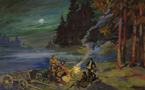 Picture forest, landscape, night, picture, The fire, halt, Konstantin Korovin
