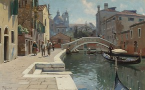 Wallpaper Canal in Venice, 1928, Peder Mørk Mønsted, Peter Merk Of Menstad, Danish painter, Danish realist ...