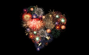 Wallpaper fireworks, heart, collage, salute, Valentine's Day