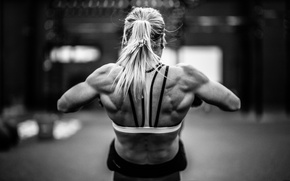 Picture white, black, back, female, workout, fitness