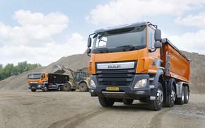 Picture orange, DAF, DAF, dump truck, loading, machinery, 8x4, Euro6, DAF CF 460 FAD