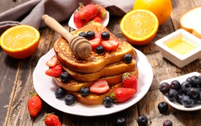 Picture berries, orange, Breakfast, blueberries, strawberry, bread, honey, toast
