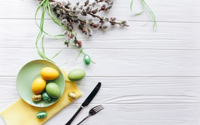 Picture eggs, spring, Easter, Holiday, Verba, Cutlery