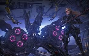 Picture girl, fiction, robot, blonde, the gun, cyborg
