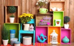 Wallpaper pitcher, decoration, colorful, colors, shelves, lantern, design, home, interior, flowers, flowers, vase