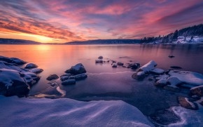 Picture winter, forest, the sky, snow, trees, stones, dawn, shore, ice, Norway, Bay, house