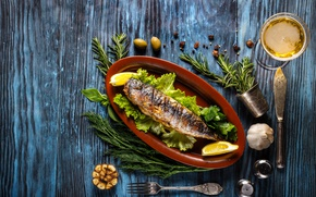 Picture greens, wine, lemon, fish, dill, sauce, wood, fish, spices