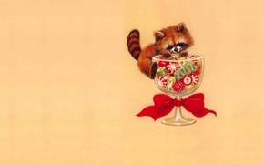 Picture mood, holiday, glass, art, candy, New year, red Panda, bow, children's, pandochka