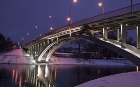 Picture river, bridge, winter, snow, evening, lanterns, Kiev, Dnieper