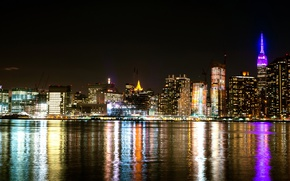 Picture night, lights, coast, home, New York, Bay, USA, night city