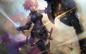 Picture girl, weapons, sword, shield, anime, art, fate grand order