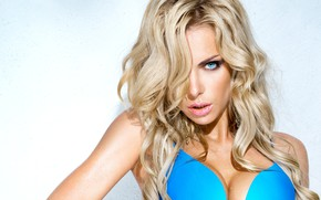 Picture swimsuit, look, girl, background, model, blonde, blue eyes