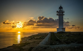 Picture sea, sunset, coast, lighthouse, Spain, Spain, The Mediterranean sea, Mediterranean Sea, Formentera, the island of …