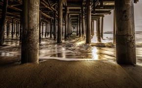 Picture sea, shore, CA, pierce, support, USA, Santa Monica