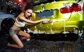 Picture auto, look, Girls, BMW, Asian, beautiful girl, washing the car