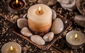 Picture stones, candles, Spa
