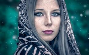 Picture portrait, makeup, freckles, sponge, Florian Pascual, russian ethnicity