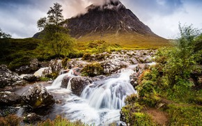 Picture waterfall, Tree, Mountain