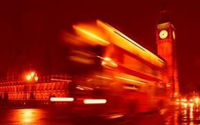 Picture night, England, London, Tower, Big Ben, bus, London, England