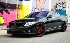 Picture Mercedes, wheels, with, and, custom, color, full, brake, lowered, matched, calipers, CL550, repaint, badging