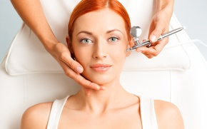 Picture green eyes, Redhead, beauty treatment