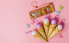 Picture butterfly, background, pink, spring, Easter, horn, pink, spring, Easter, eggs, decoration, Happy, waffle, the painted ...