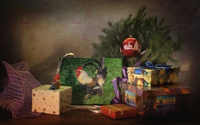 Wallpaper 2017, tree, box, toys, the year of the rooster, holiday, gifts, picture