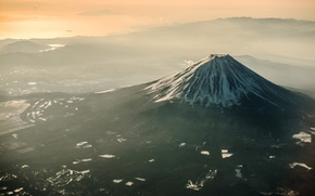 Wallpaper Japan, valley, mount Fuji, light, haze, Fuji