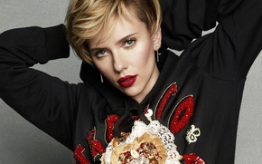 Picture pose, actress, Scarlett Johansson, blonde