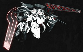 Picture void, depth, gun, power, horns, red eyes, art, Miwa Shirow, Kantai Collection, Seaport Hime, super-weapons, …