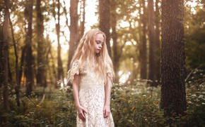 Picture forest, girl, Aleah Michele, Little Bird