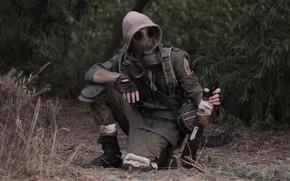 Wallpaper gas mask, hood, machine, male, form