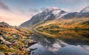 Picture landscape, mountains, lake, stones, Wales, Llyn, Ogwen