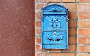 Wallpaper Wall, blue, finish, bricks, castle, mail, box, gate, red, style, sign