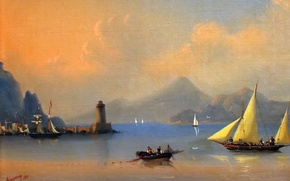 Picture mountains, boat, lighthouse, sailboat, Italy, calm, painting, Aivazovsky Ivan, painting painting, sea - sea