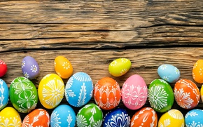 Picture colorful, wood, Easter, Easter, happy, the painted eggs, holiday, spring, eggs