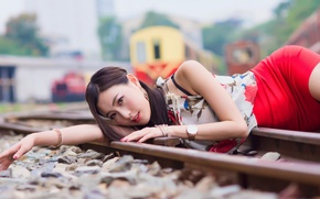 Picture summer, look, girl, face, style, rails, lies, Asian, beauty