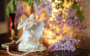 Picture necklace, pearl, figurine, lilac, Lilac dream
