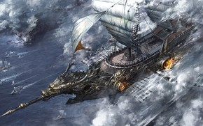 Wallpaper fire, ship, sails, solo, paddles