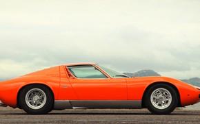 Picture Auto, Lamborghini, Retro, Machine, Orange, 1969, Car, Supercar, Miura, Supercar, Side view, Lamborghini Miura, Italian, …