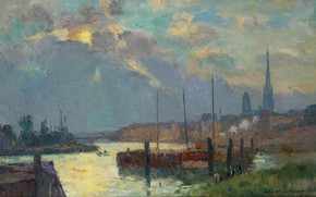 Wallpaper The port and the Cathedral of Rouen, picture, the urban landscape, Albert Charles Lebar, Albert ...