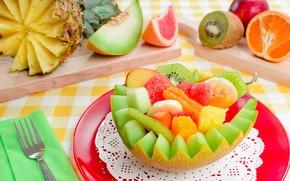 Picture Apple, kiwi, plug, banana, melon, fruit salad